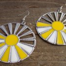 Yellow White Sunburst Silver Wheel Fan Circle Round Dangle Hook Earrings Fun Fashion Jewelry
