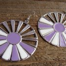 Purple White Sunburst Silver Wheel Fan Circle Round Dangle Hook Earrings Fun Fashion Jewelry