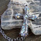 Large Antiqued Burnish Silver Cross Bracelet Colorful Rhinestones Adjustable Chain Link Jewelry