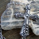 Large Antiqued Burnish Silver Cross Bracelet Gray Rhinestones Adjustable Chain Link Jewelry