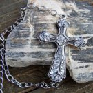Large Antiqued Burnish Silver Cross Bracelet Clear Rhinestones Adjustable Chain Link Jewelry