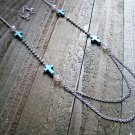 Turquoise Cross Rhinestones Pink Beads Long Necklace Earrings Set Cowgirl Jewelry