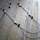 Turquoise Cross Rhinestones Black Beads Long Necklace Earrings Set Cowgirl Jewelry