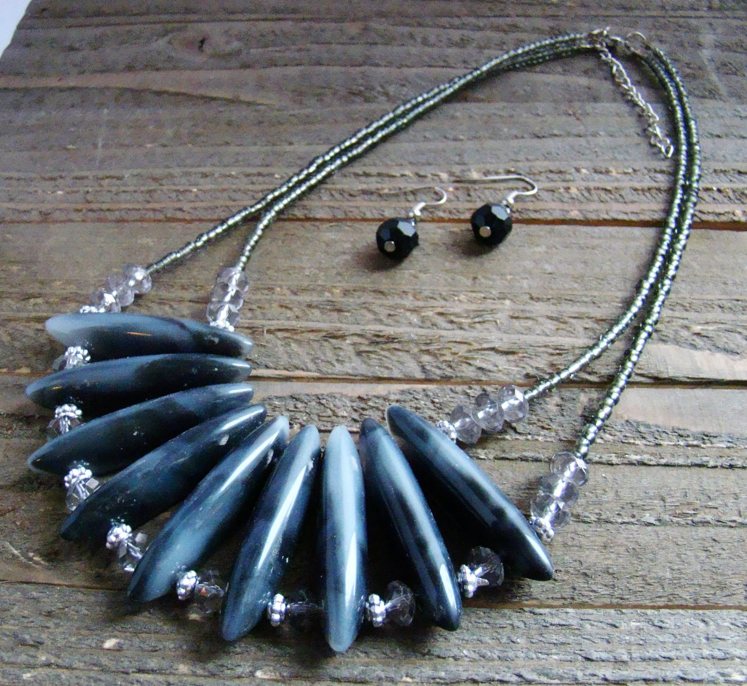 Black Chunky Lucite Bars Double Line Seed Bead Statement Necklace Earrings Jewelry Set