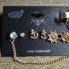 Gold Nautical Anchor Boat Wheel Ear Cuff Earrings Rhinestone Statement Jewelry Set