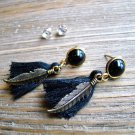 Gold Feather Black Tassel Rhinestone Dangle Earrings Set Boho Gypsy Cowgirl Fashion Jewelry