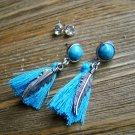 Silver Feather Blue Tassel Rhinestone Dangle Earrings Set Boho Gypsy Cowgirl Fashion Jewelry