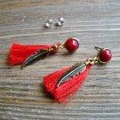 Gold Feather Red Tassel Rhinestone Dangle Earrings Set Boho Gypsy Cowgirl Fashion Jewelry