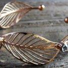 Gold Tone Wide Multi Leaf Rhinestones Cuff Bracelet Boho Fashion Jewelry