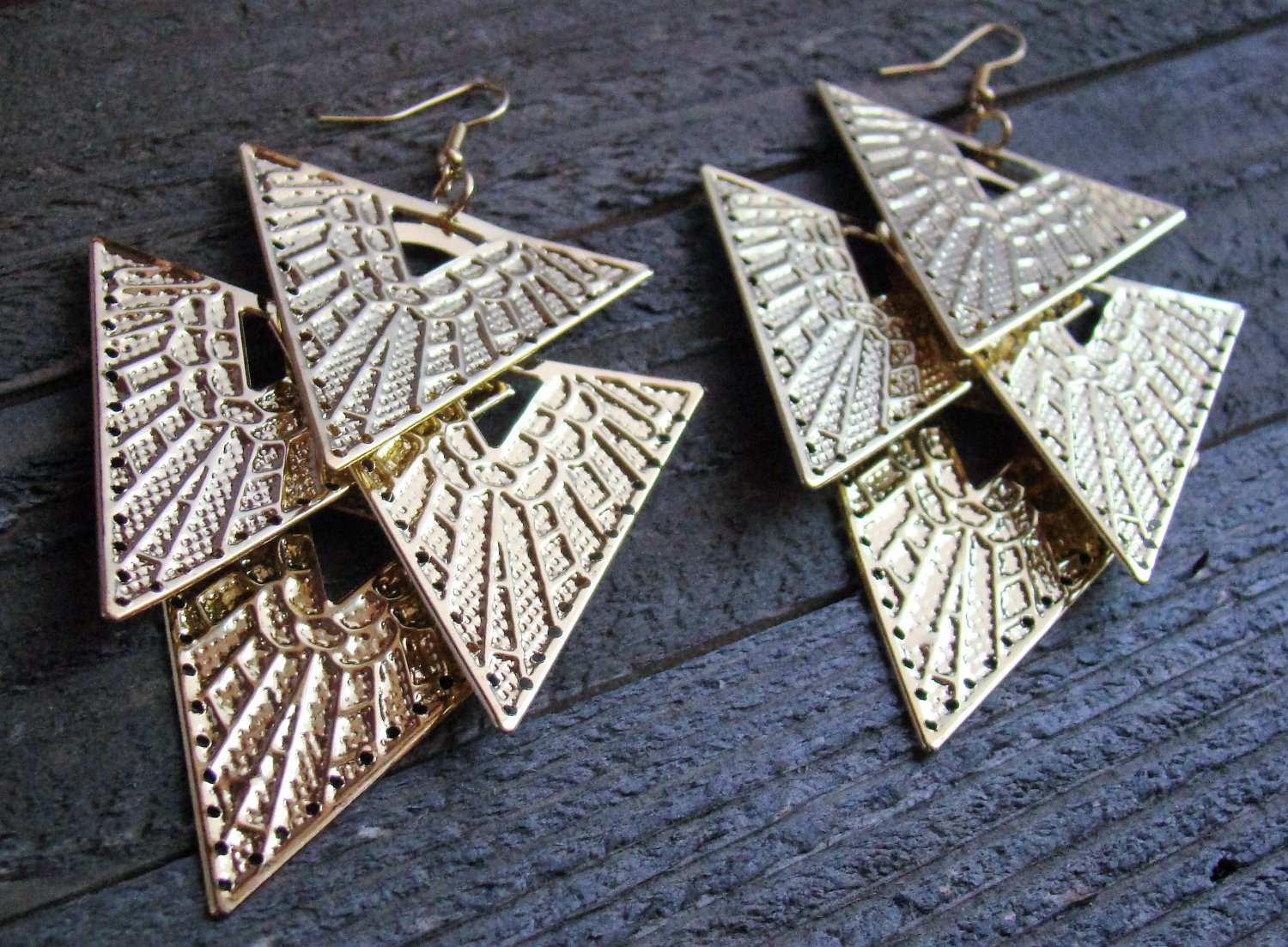 "4"" Long Gold Cascading Geometric Triangle Dangle Chandelier Earrings Fashion Jewelry"