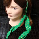 Polka Dot Green Fabric Scarf Headband Twist Tie Chain Link Wrap Fashion Hair Accessory