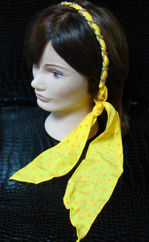Polka Dot Yellow Fabric Scarf Headband Twist Tie Chain Link Wrap Fashion Hair Accessory