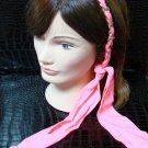Polka Dot Pink Fabric Scarf Headband Twist Tie Chain Link Wrap Fashion Hair Accessory