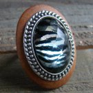 Large Ring Zebra Animal Print Rhinestone Statement Natural Wood Metal Fashion Jewelry