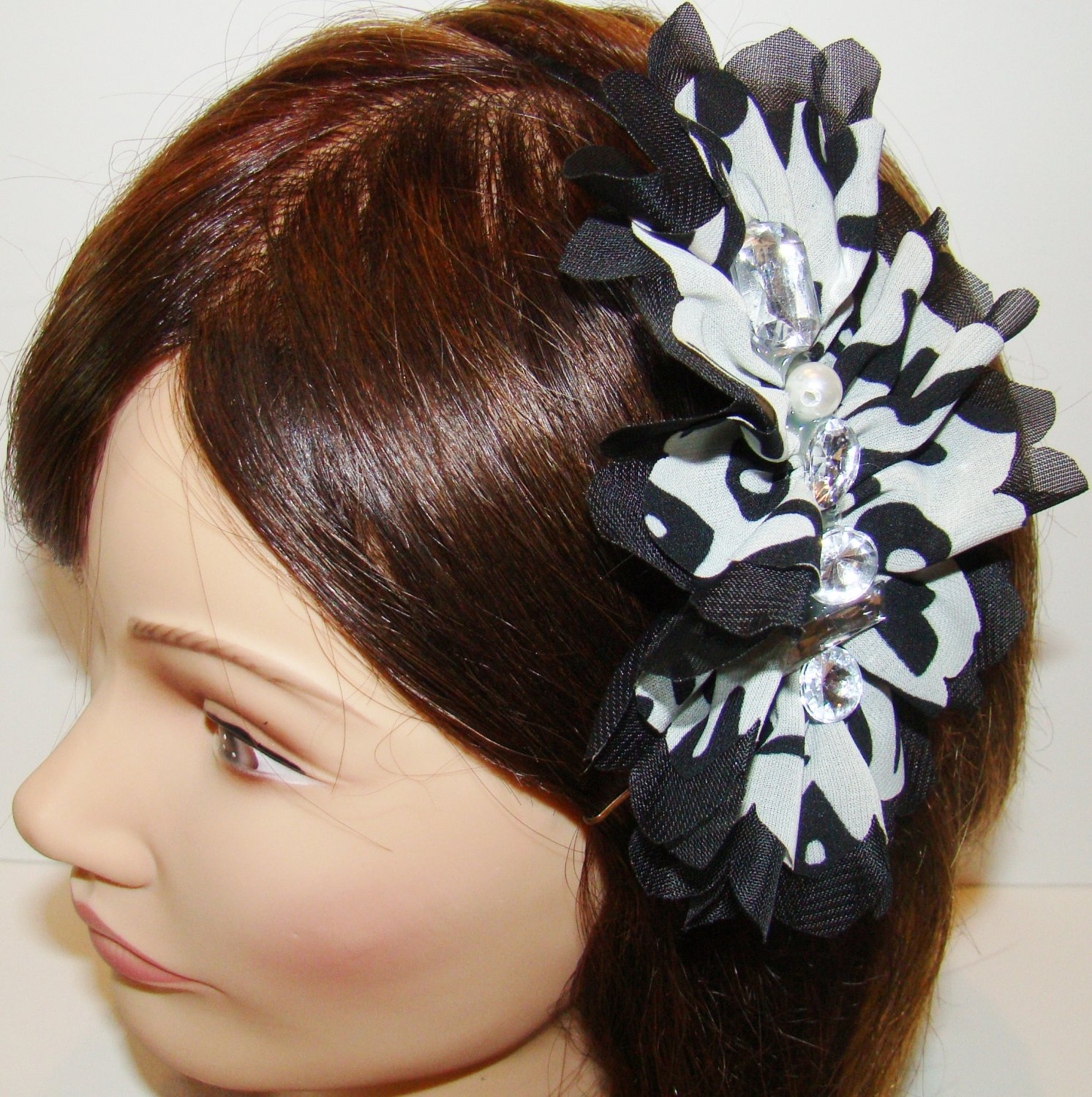 Rhinestones Faux Pearl Black Gray Side Ruffle Fabric Black Headband Fashion Hair Accessory
