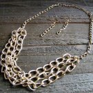 Triple Gold Tone Chain Link Bib Necklace Earrings Fashion Jewelry Set