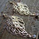 "3.5"" Long Rhinestones Cutout Gold Double Leaf Dangle Hook Statement Earrings Fashion"