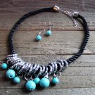 Dangle Turquoise Bead Silver Rings Rope Cord Statement Necklace Earrings Set Boho Fashion Jewelry