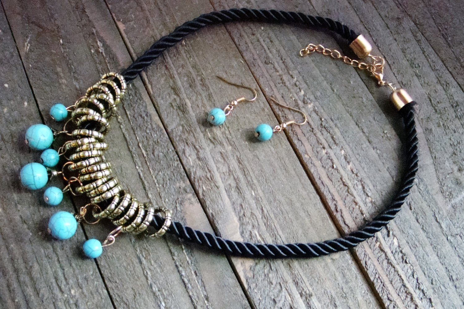 Dangle Turquoise Bead Gold Rings Rope Cord Statement Necklace Earrings Set Boho Fashion Jewelry