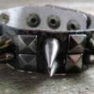 Dark Brown Faux Snake Skin Print Leather Spike Stud Wristband Wrap Bracelet Rock Fashion