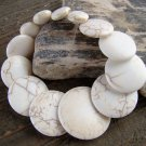 Graduated Flat Off White Stone Chunky Stretch Bracelet Fashion Statement Jewelry Colorful