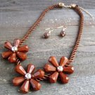 Triple Brown Flower Rope Cord Statement Necklace Earrings Set Fun Fashion Jewelry