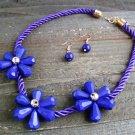 Triple Purple Flower Rope Cord Statement Necklace Earrings Set Fun Fashion Jewelry