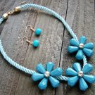Triple Blue Flower Rope Cord Statement Necklace Earrings Set Fun Fashion Jewelry
