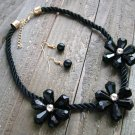 Triple Black Flower Rope Cord Statement Necklace Earrings Set Fun Fashion Jewelry