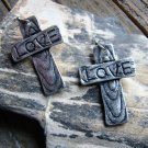Rustic Siver Cross Etched LOVE Dangle Hook Alloy Earrings Cowgirl Fashion Jewelry