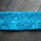 Blue Crochet Knit Woven Lace Stretch Wide Headband Wrap Hair Accessory Polyester