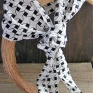 White with Black Houndstooth Print Long Scarf Versatile Fashion Belt Hair Accessory