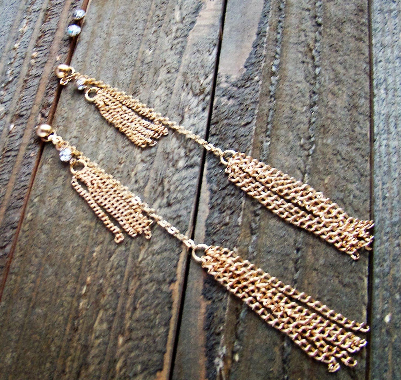 "4.5"" Extra Long Dangle Gold Tassel Chain Rhinestones Earrings Set Fashion Jewelry"