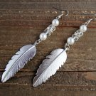 "4"" Long Silver Feather Bead Faux Pearl Dangle Earrings Boho Fashion Jewelry"
