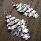 Long Cascading Silver Tone Multi Flowers Chandelier Earrings Jewelry Alloy