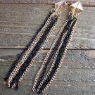 "4"" Long Dangle Black & Gold Tassel Earrings Pyramid Stud Fashion Jewelry"