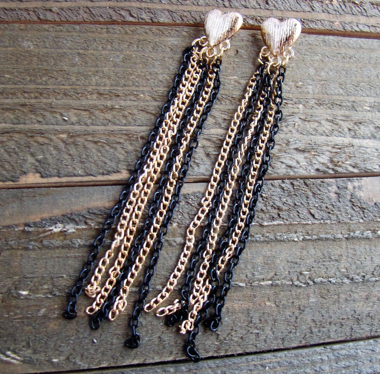 """4"""" Long Dangle Black & Gold Tassel Earrings Heart Stud Fashion Jewelry"""