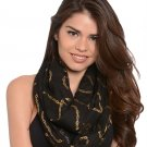 Infinity Cowl Scarf Wrap Fashion Accessory Black with Gold Chain Print Detail