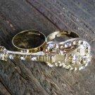 Rhinestones Gold Guitar Adjustable 2 Finger Statement Fashion Ring Jewelry