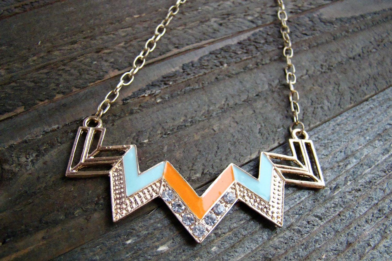Orange & Blue Chevron Zig Zag Rhinestones Adjustable Chain Statement Necklace Fashion Jewelry