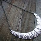Hammered Style Burnish Siver Crescent Chain Link Necklace Fashion Jewelry Silver Gold Tone