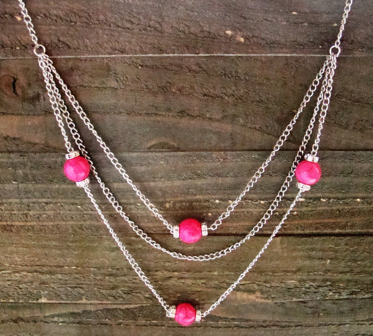 """Long 32"""" 3 Layer Multi Pink Bead Rhinestones Chain Necklace Cowgirl Fashion Jewelry"""