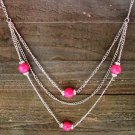 "Long 32"" 3 Layer Multi Pink Bead Rhinestones Chain Necklace Cowgirl Fashion Jewelry"