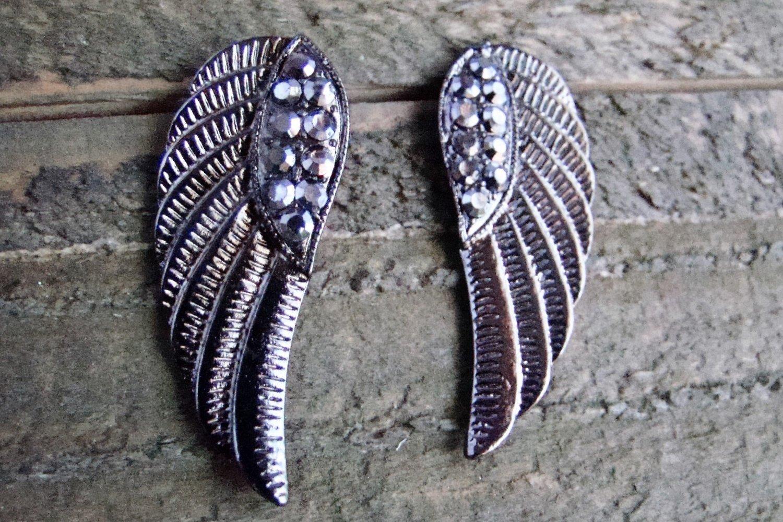 Gun Metal Gray Angel Wings Gray Rhinestones Stud Earrings Cowgirl Fashion Jewelry
