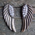 Burnish Gold Angel Wings Clear Rhinestones Stud Earrings Cowgirl Fashion Jewelry