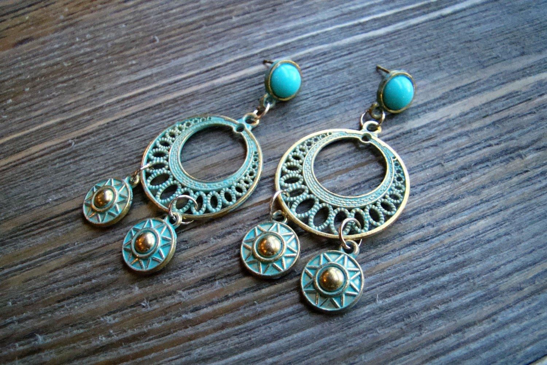 Aztec Chandelier Earrings Gold Tone Turquoise Pantina Blue Stud Gypsy Boho Fashion Jewelry