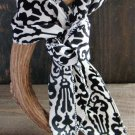 White & Black Filigree Print Soft 3-In-1 Long Scarf Versatile Wear Fashion Belt Hair Accessory