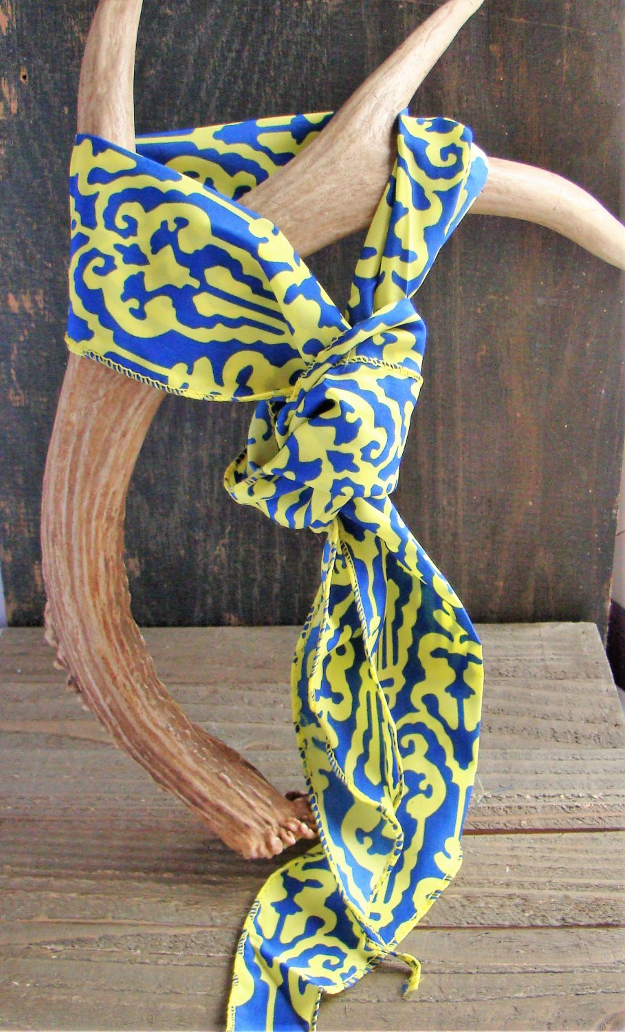 Yellow & Blue Filigree Print Soft 3-In-1 Long Scarf Versatile Wear Fashion Belt Hair Accessory