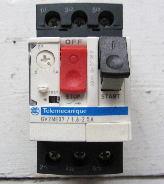Telemecanique motor protector circuit breaker gv2me07 1 6 for Circuit breaker for 7 5 hp motor