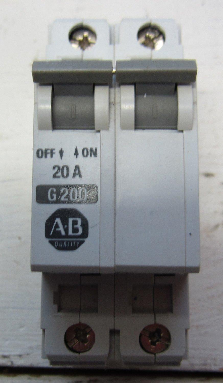 Allen Bradley G200 1492-CB2 Ser B 2 Pole 20 Amp Circuit Breaker 1492CB2